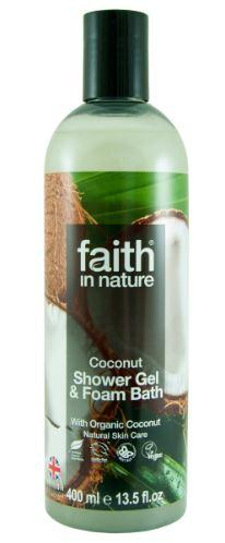 a clear bottle with black cap. label has photo image of coconuts. Label shows faith in nature coconut shower gel