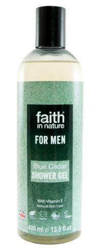 A clear bottle with black cap. Blue paper label shows faith in nature blue cedar shower gel for men.