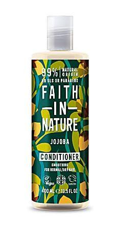 A clear plastic bottle and cap. Decorative green label showing images of jojoba nuts and leaves. label shows faith in nature jojoba conditioner.