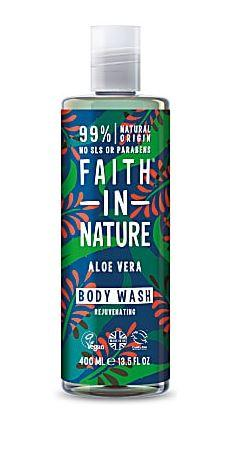 Clear plastic bottle and cap. Blue label decorated with red and blue leaves. Label shows faith in nature aloe vera body wash.