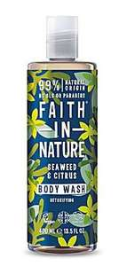 A clear plastic bottle and cap with label decorated with blue and green seaweed. faith in nature seaweed and citrus body wash.