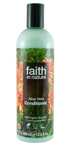 A clear plastic bottle with black cap, label has photo image of orange aloe vera flowers and green leaves. Label shows faith in nature aloe vera conditioner.