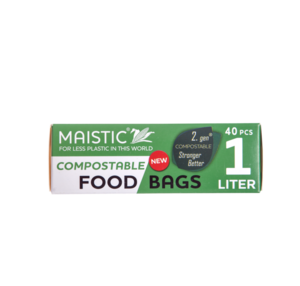 A green and white card box packaging showing maistic compostable food bags 1ltr.
