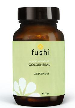 Brown glass jar with black lid. Label shows fushi Goldenseal.