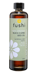 Clear glass bottle with black cap. Label shows Fushi Organic black cumin seed oil.