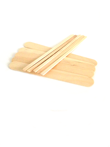 Small bundle of wide and thin natural wood waxing spatula sticks
