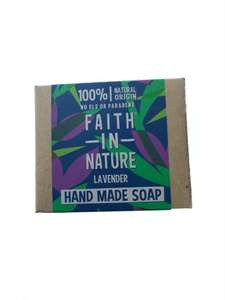 Rectangle natural brown soap box with blue, green and purple leaf paper label showing faith in nature lavender soap.