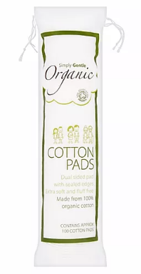 Clear plastic bag packaging contain white cotton wool pads. Green illustration on the bag showing simply gentle organic cotton pads.