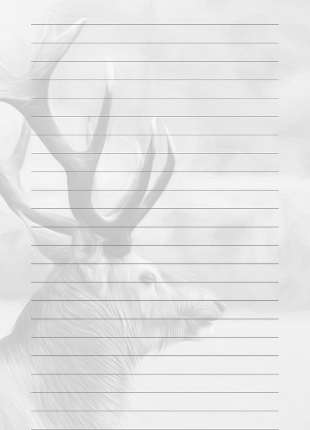 lined notebook page with black and white watermark stag image