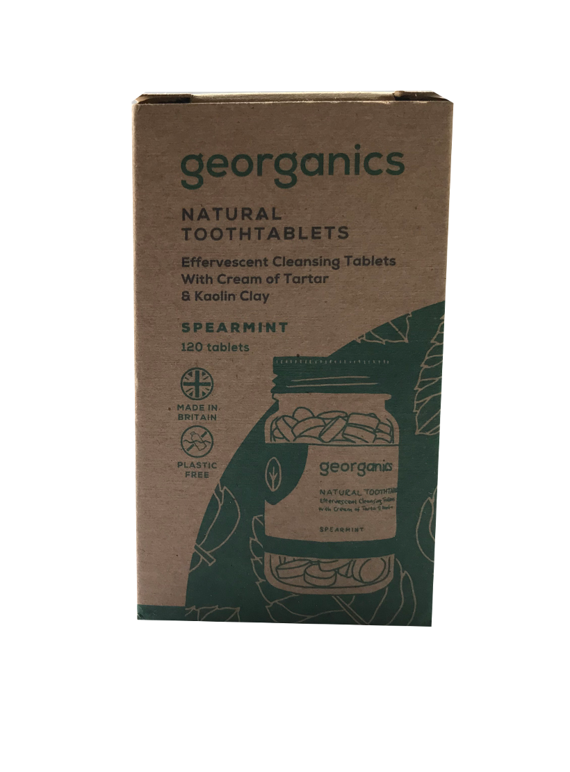 A natural brown box packaging. Labelling shows georganics natural toothtablets spearmint.