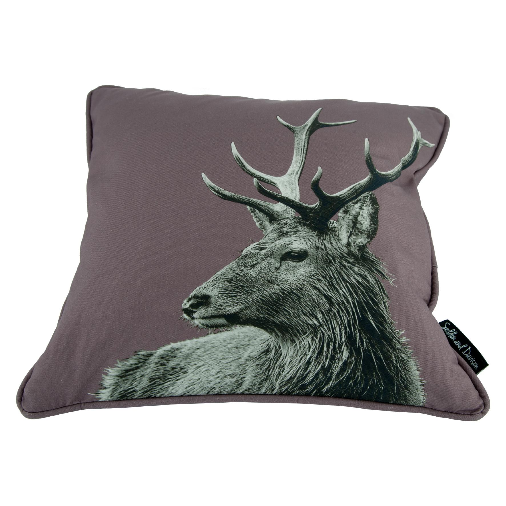 Highland Stag Cushion on Dusky Pink