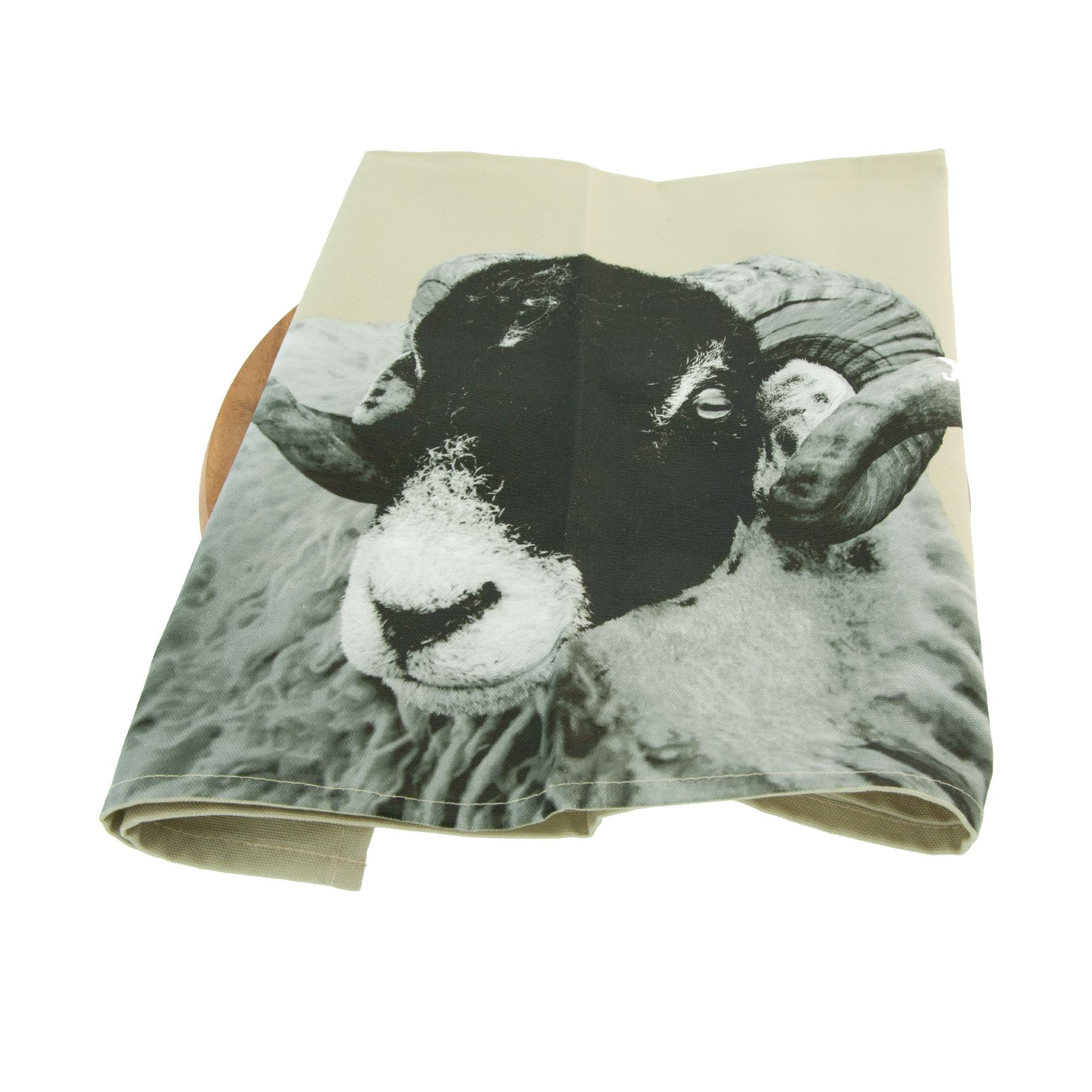 Swaledale sheep tea towel on sand grey