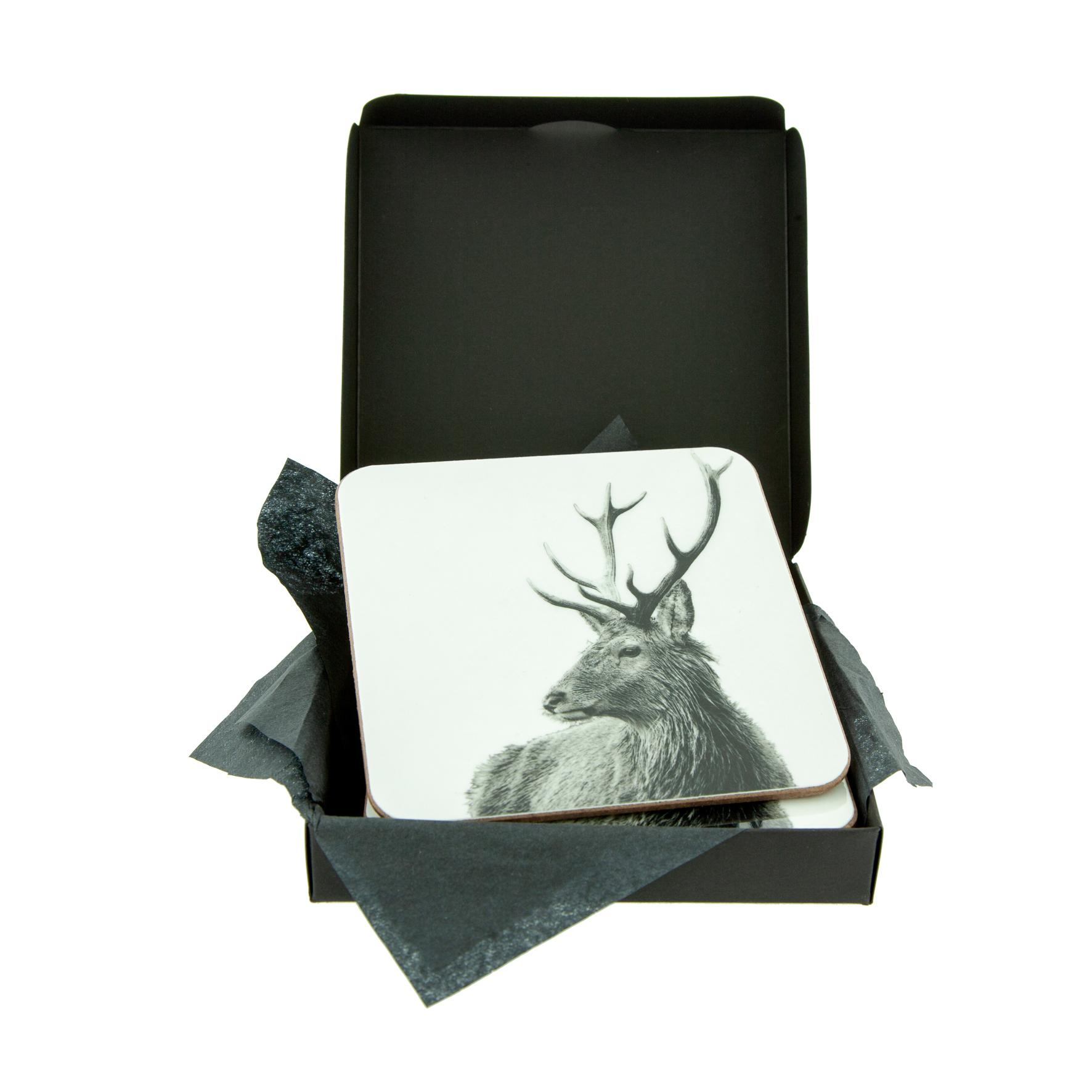 Highland Stag White Coaster
