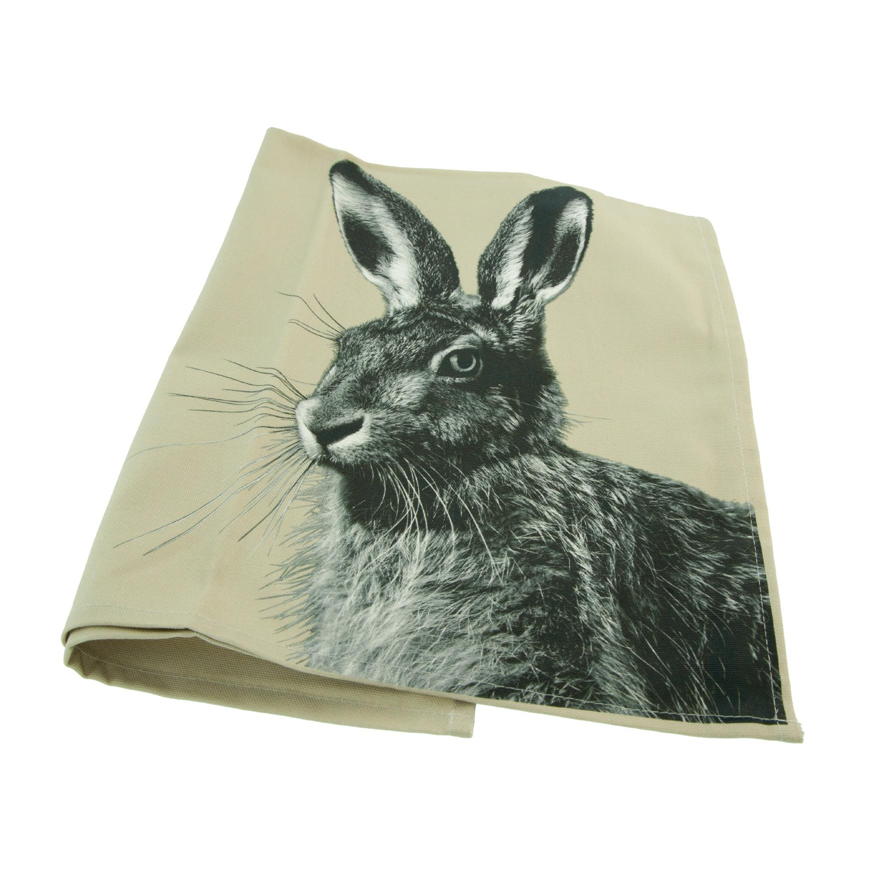 Hare tea towel on sand grey