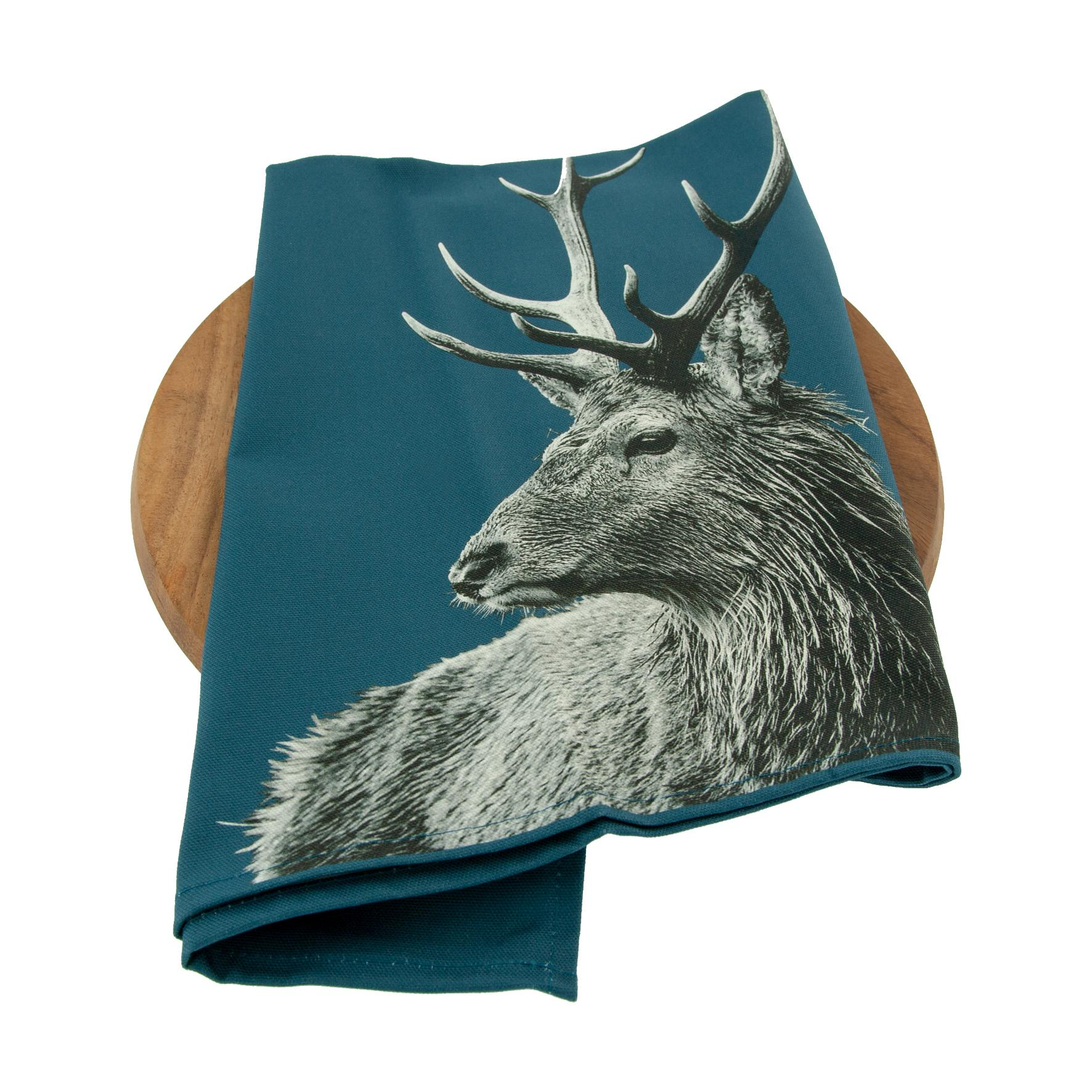 Highland Stag tea towel on indigo