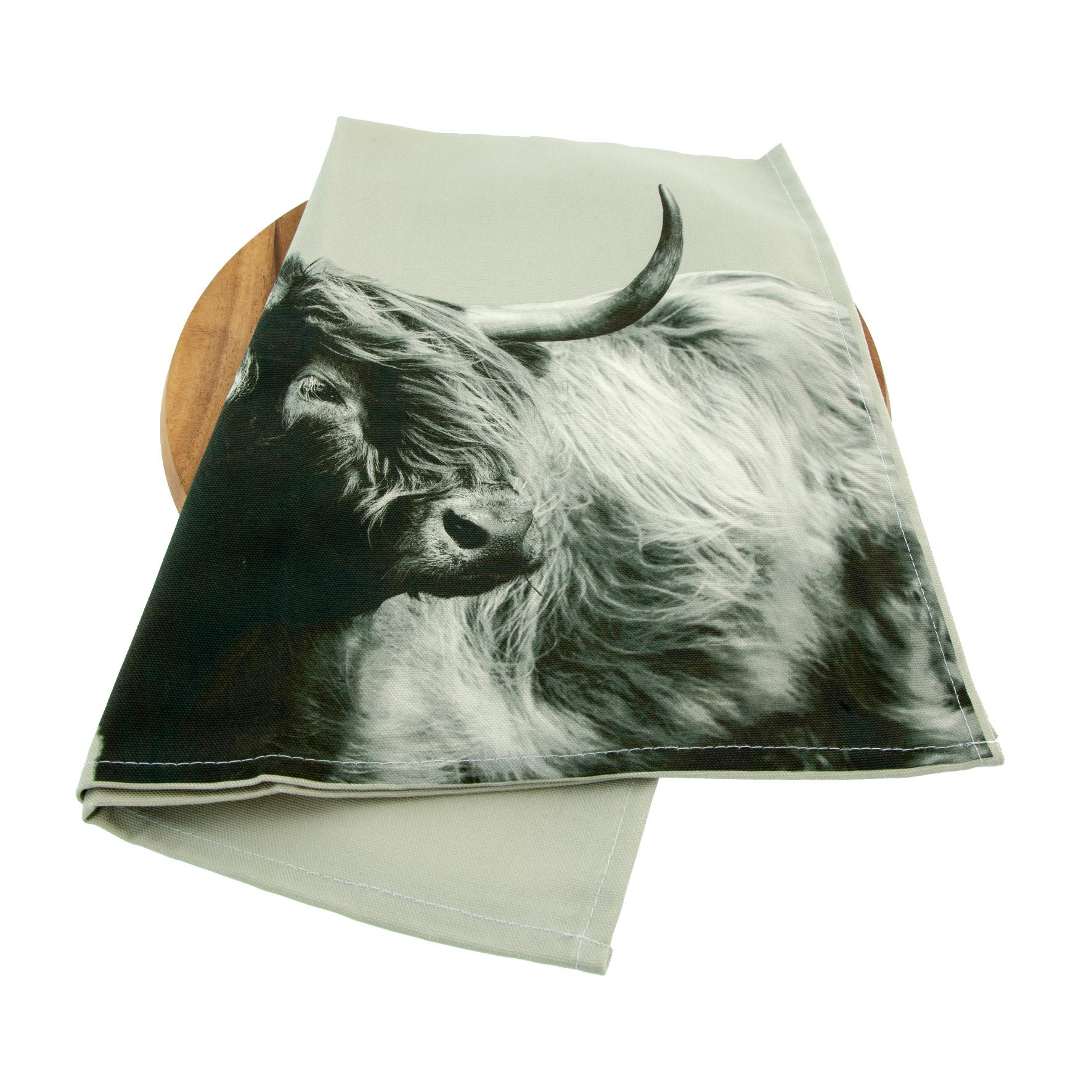 Highland Cow tea towel on sage grey