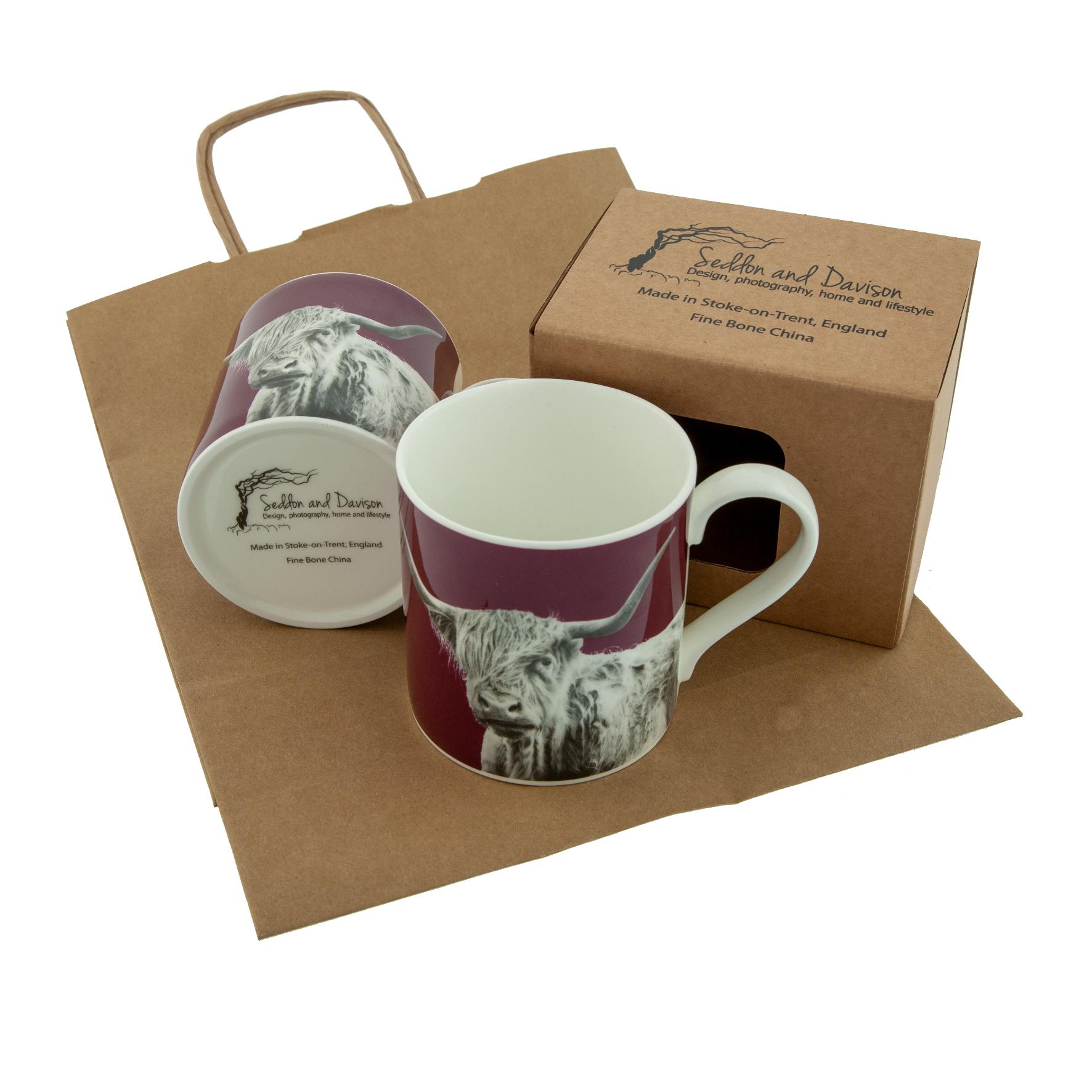 Shaggy Highland Cow Fine Bone China Mug Claret