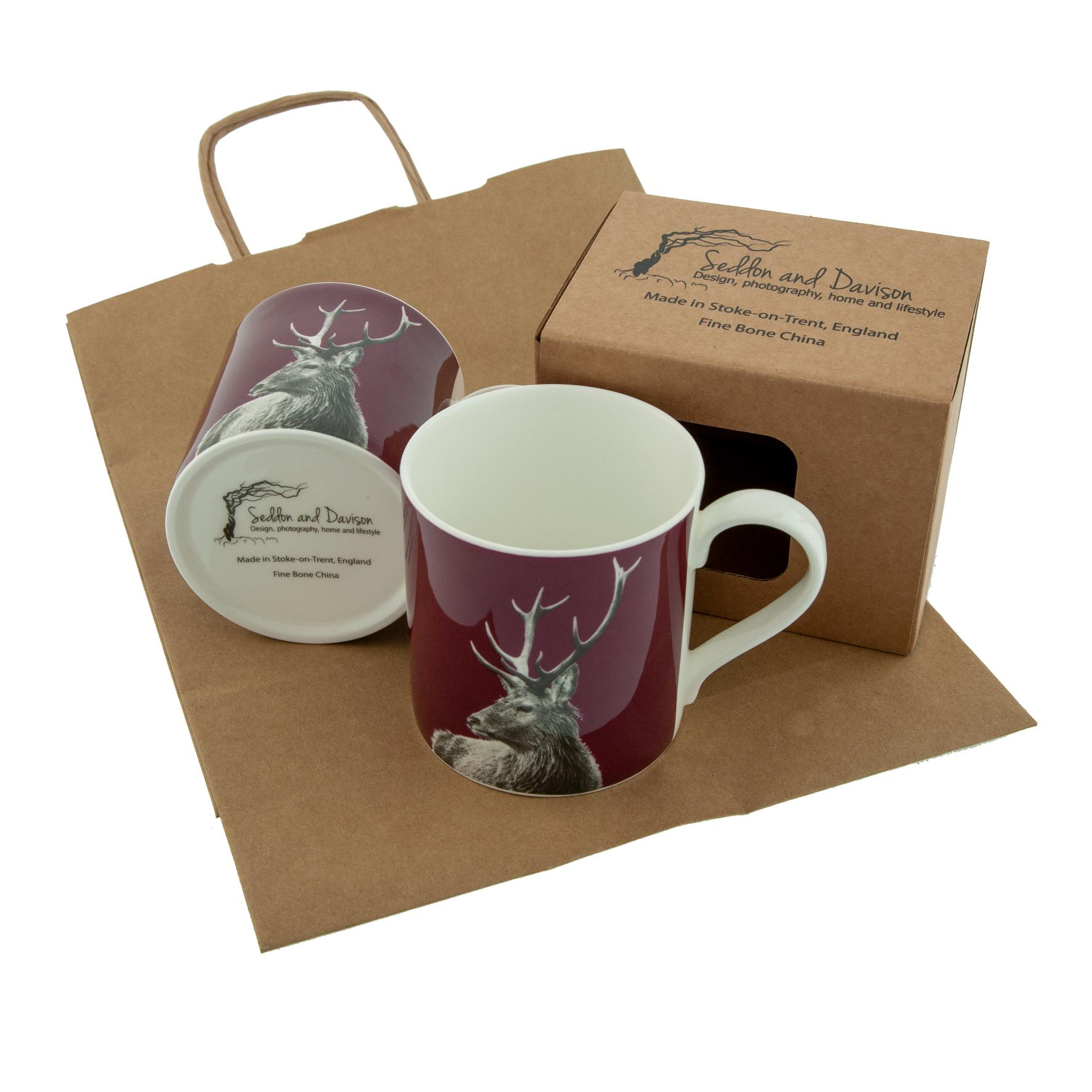 Highland Stag Fine Bone China Mug on Claret