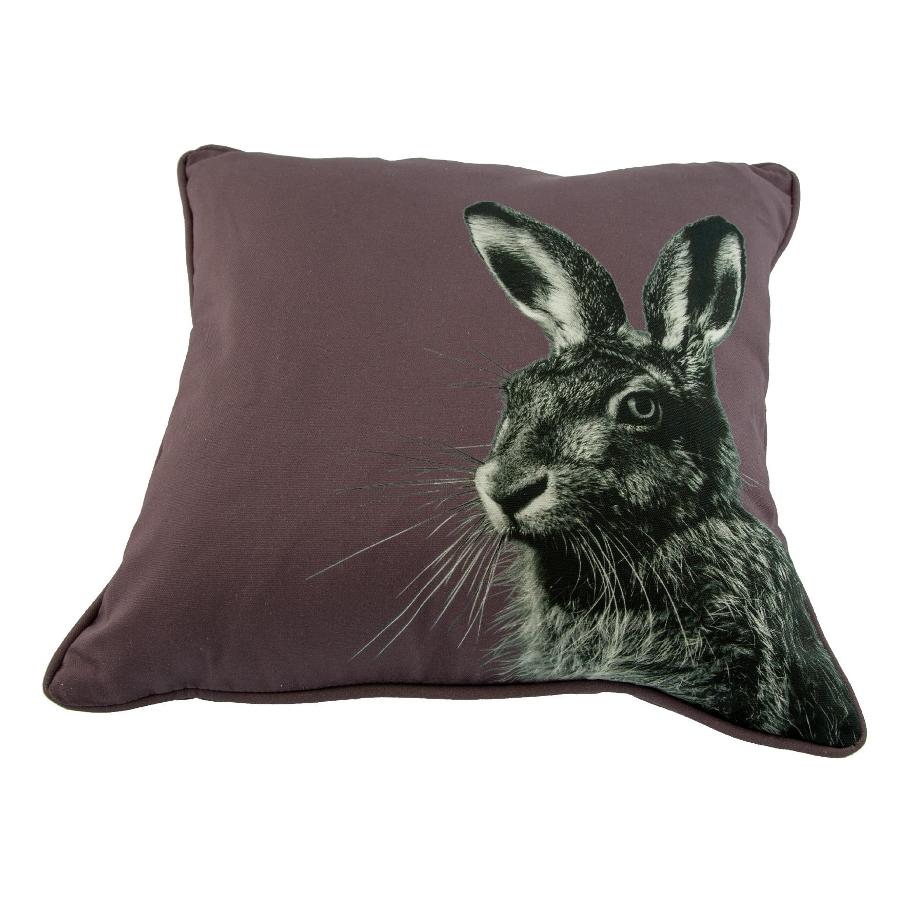 Hare Cushion on Dusky Pink