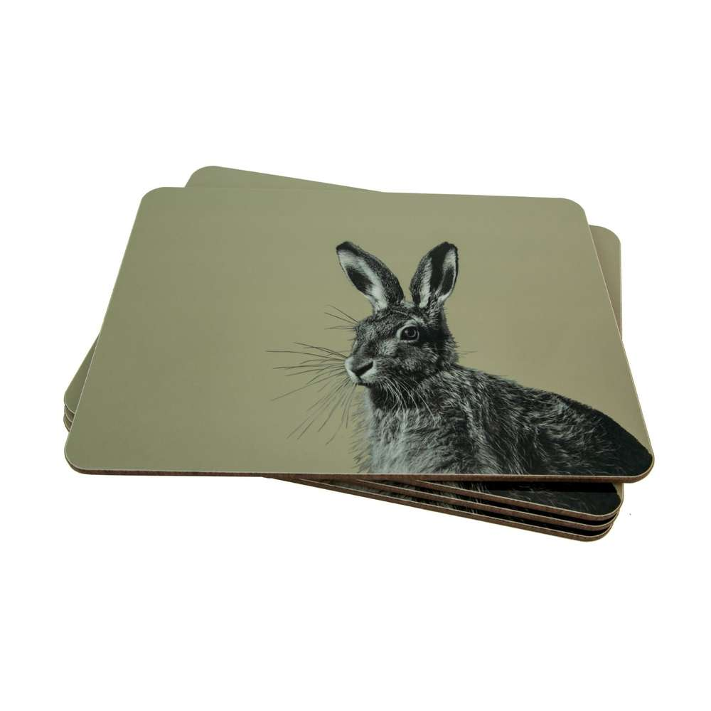 Hare Placemat on Sand Grey