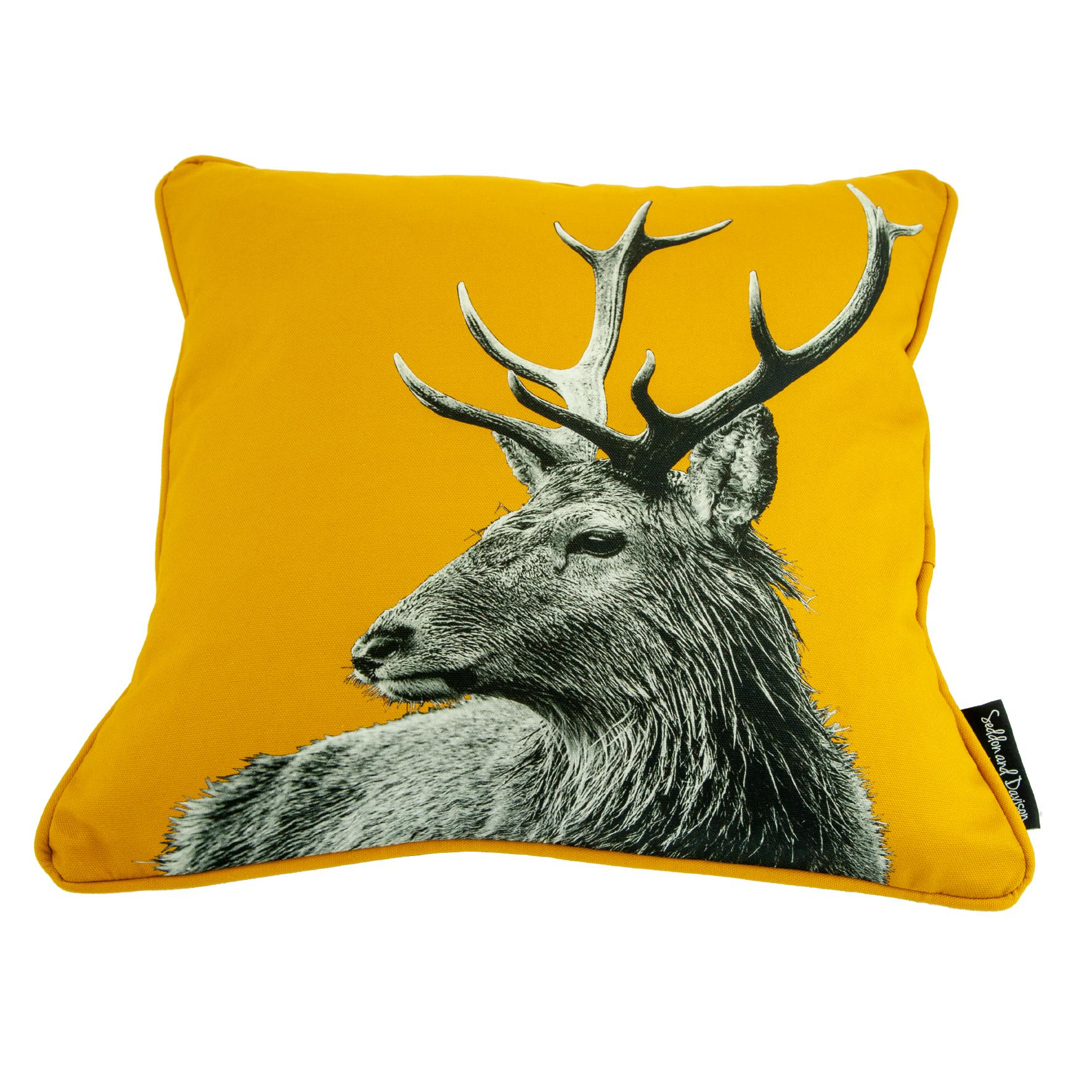Highland Stag Cushion on Mustard