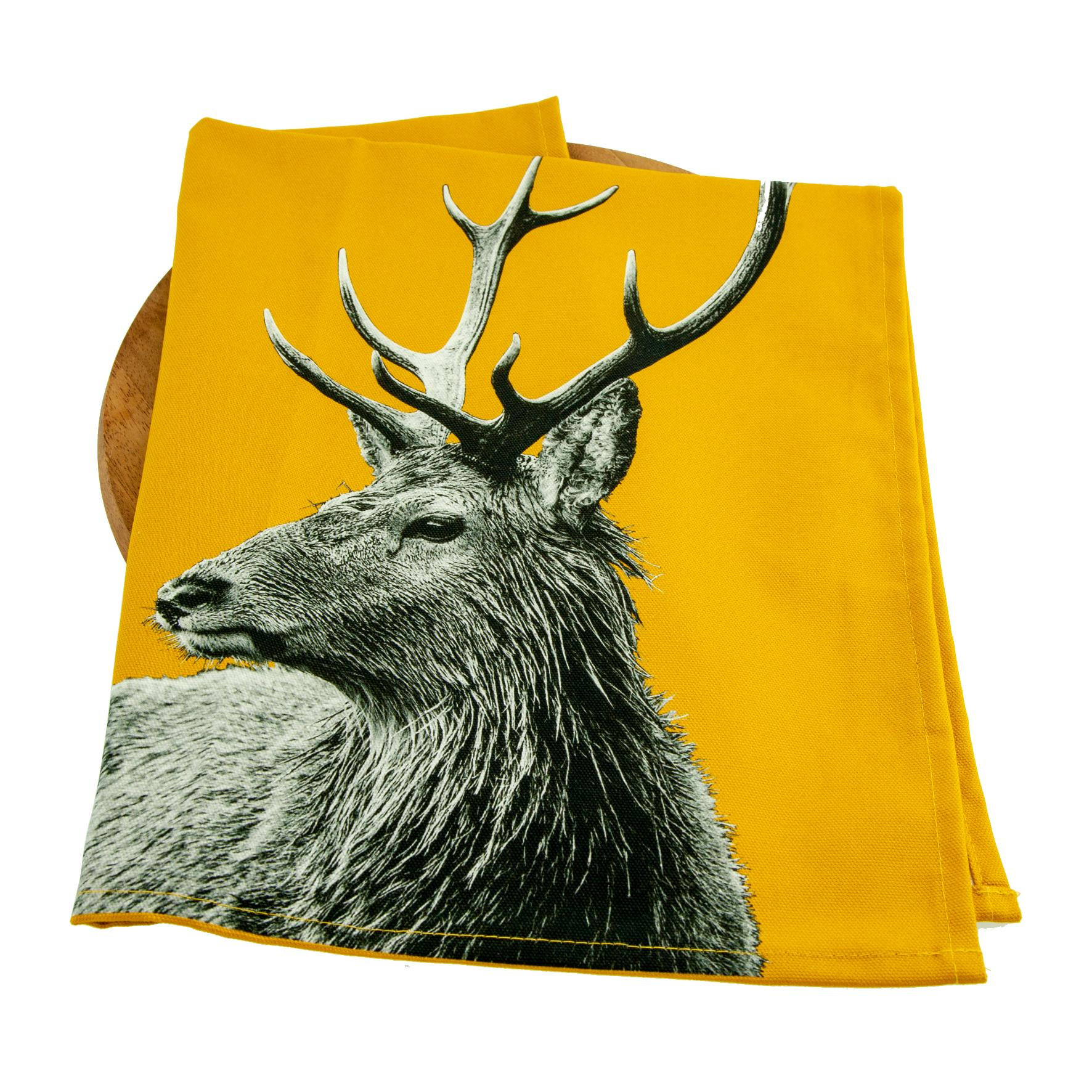 Highland Stag Tea Towel on Mustard