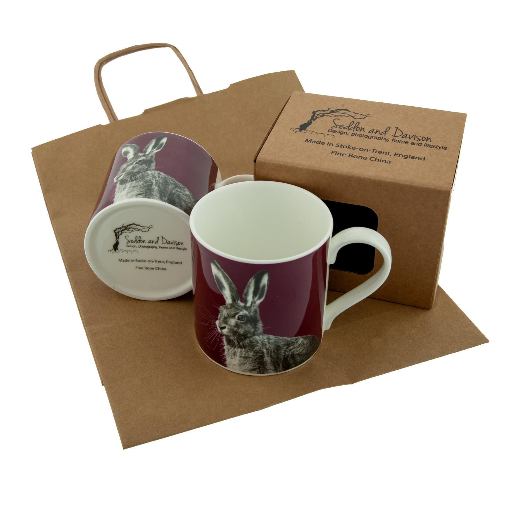 Hare Fine Bone China Mug on Claret