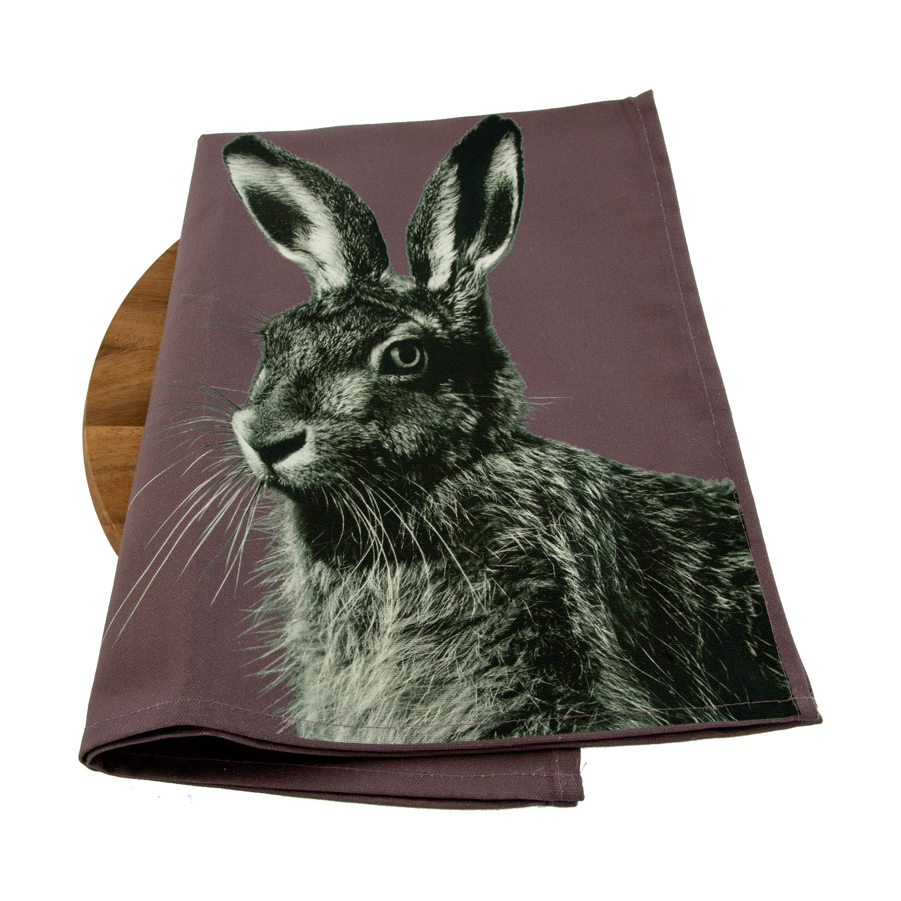 Hare Tea Towel on Dusky Pink