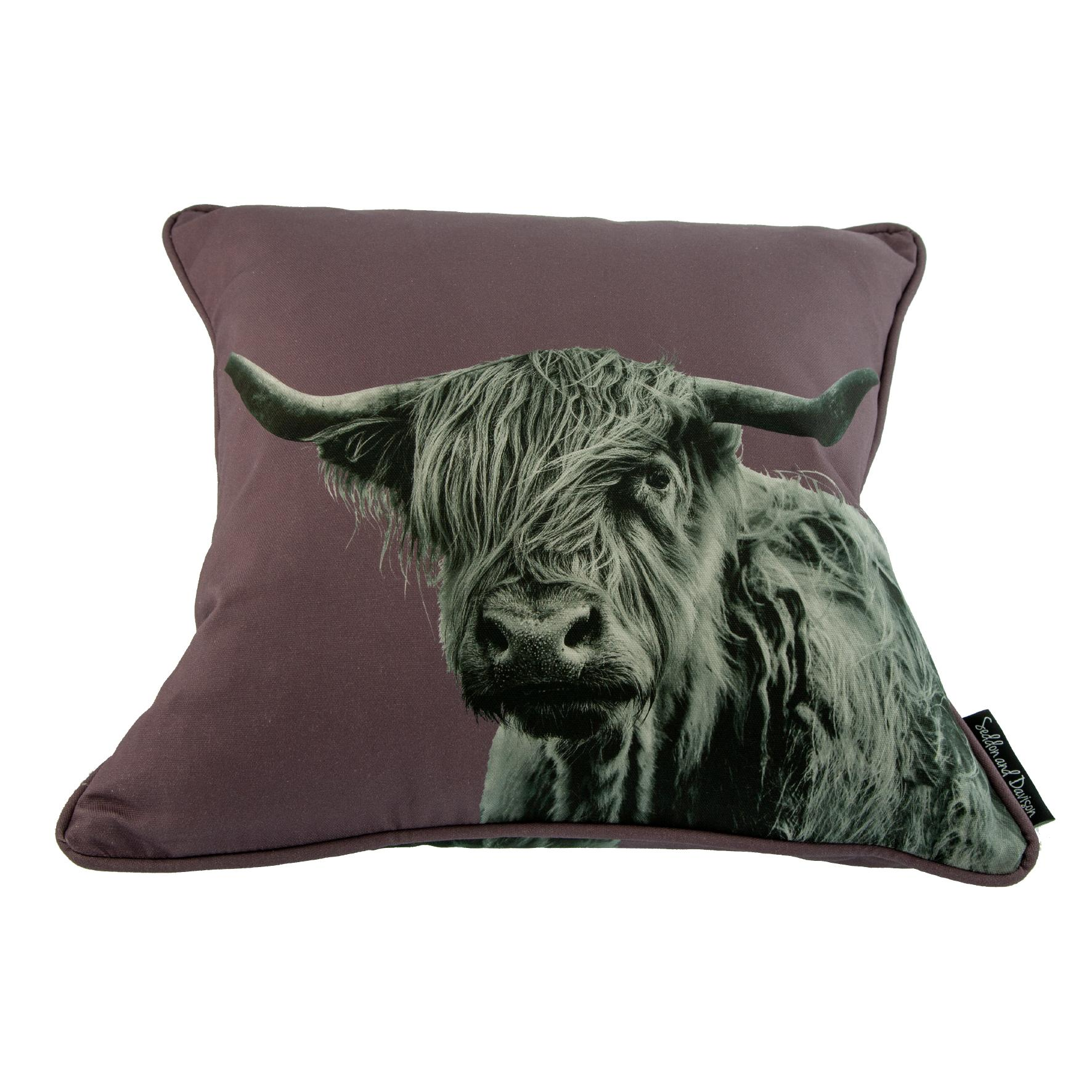 Shaggy Highland Cow Cushion on Dusky Pink