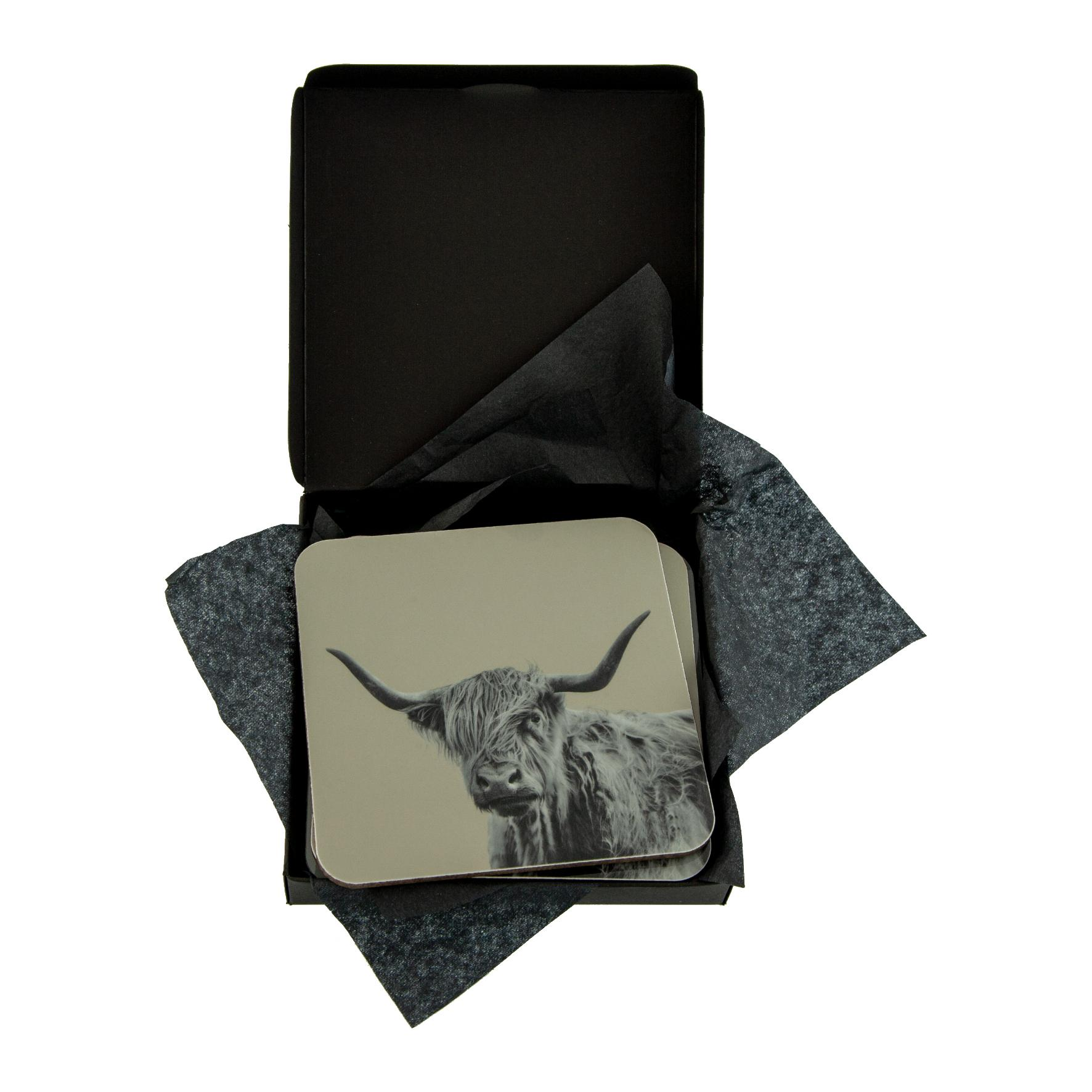 Shaggy Highland Cow Coaster on Sand Grey