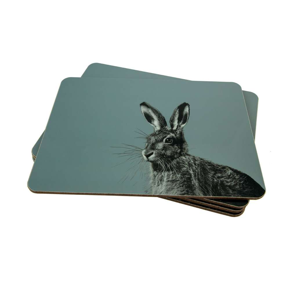 Hare Placemat on Pale Blue