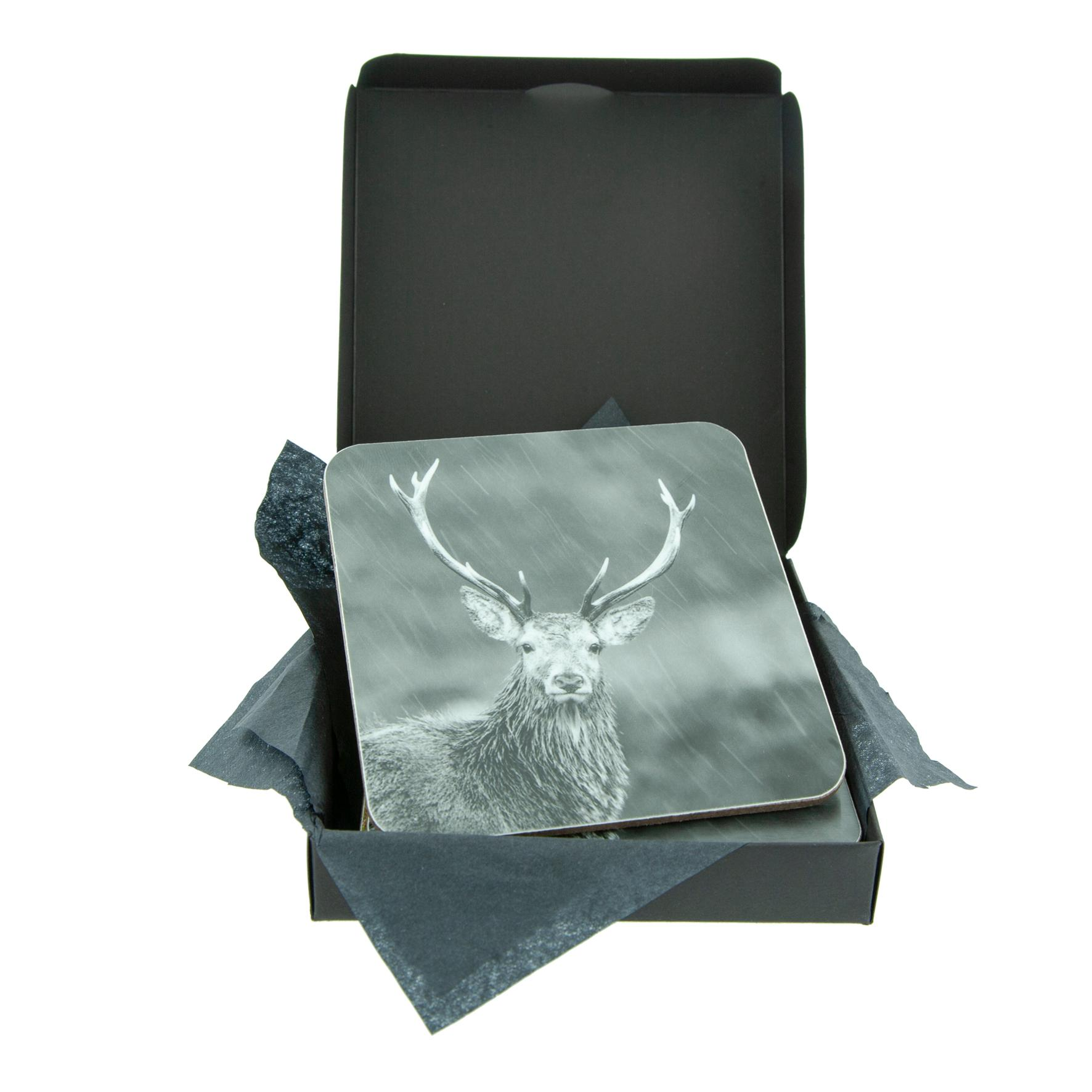 Stag in the Rain Grey Coaster