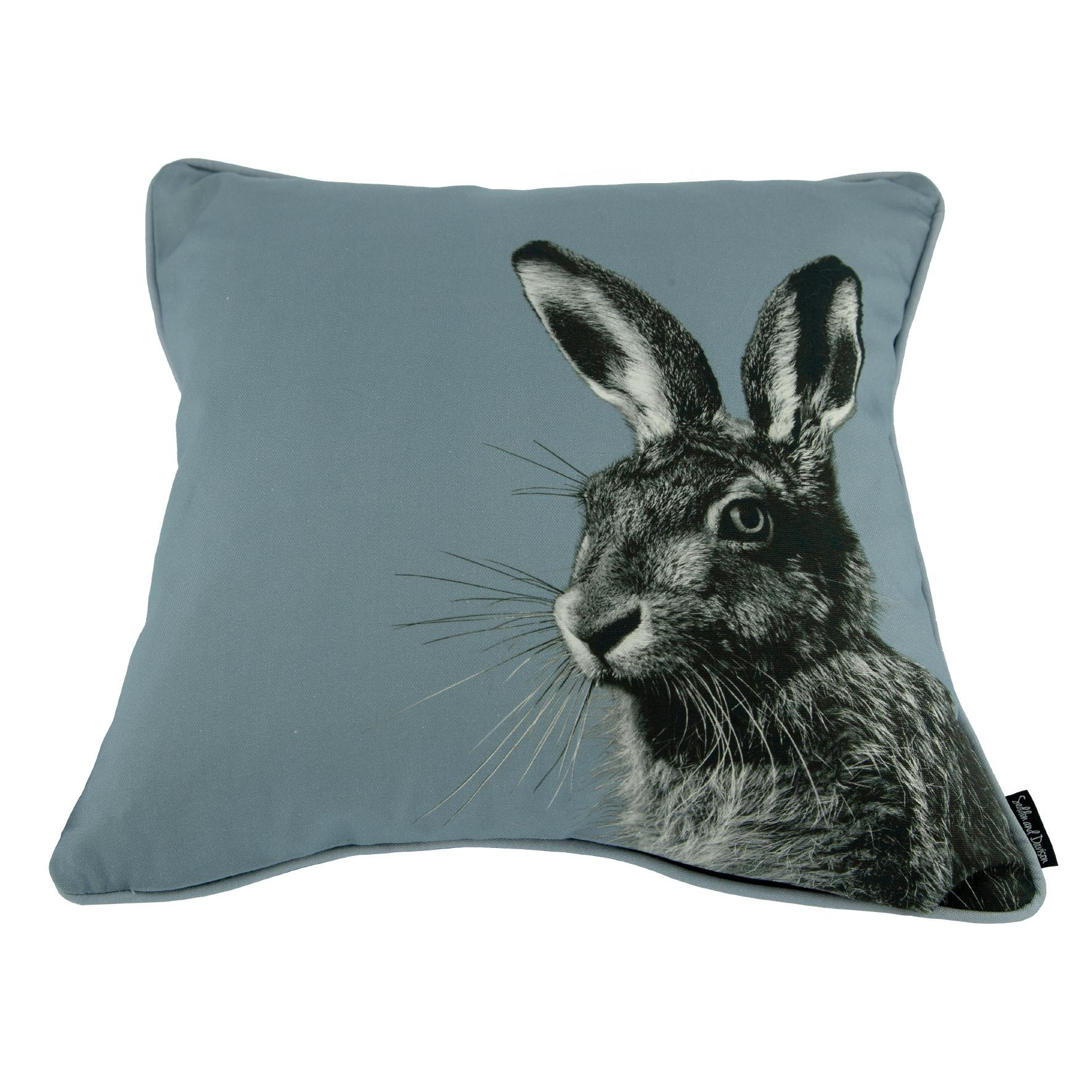 Hare cushion on pale grey
