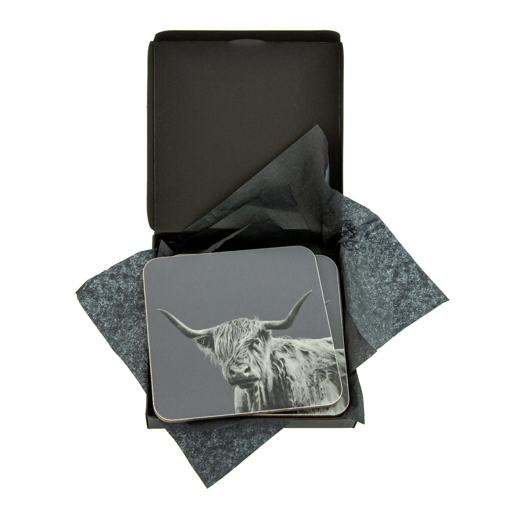 Shaggy Highland Cow Coaster on Charcoal