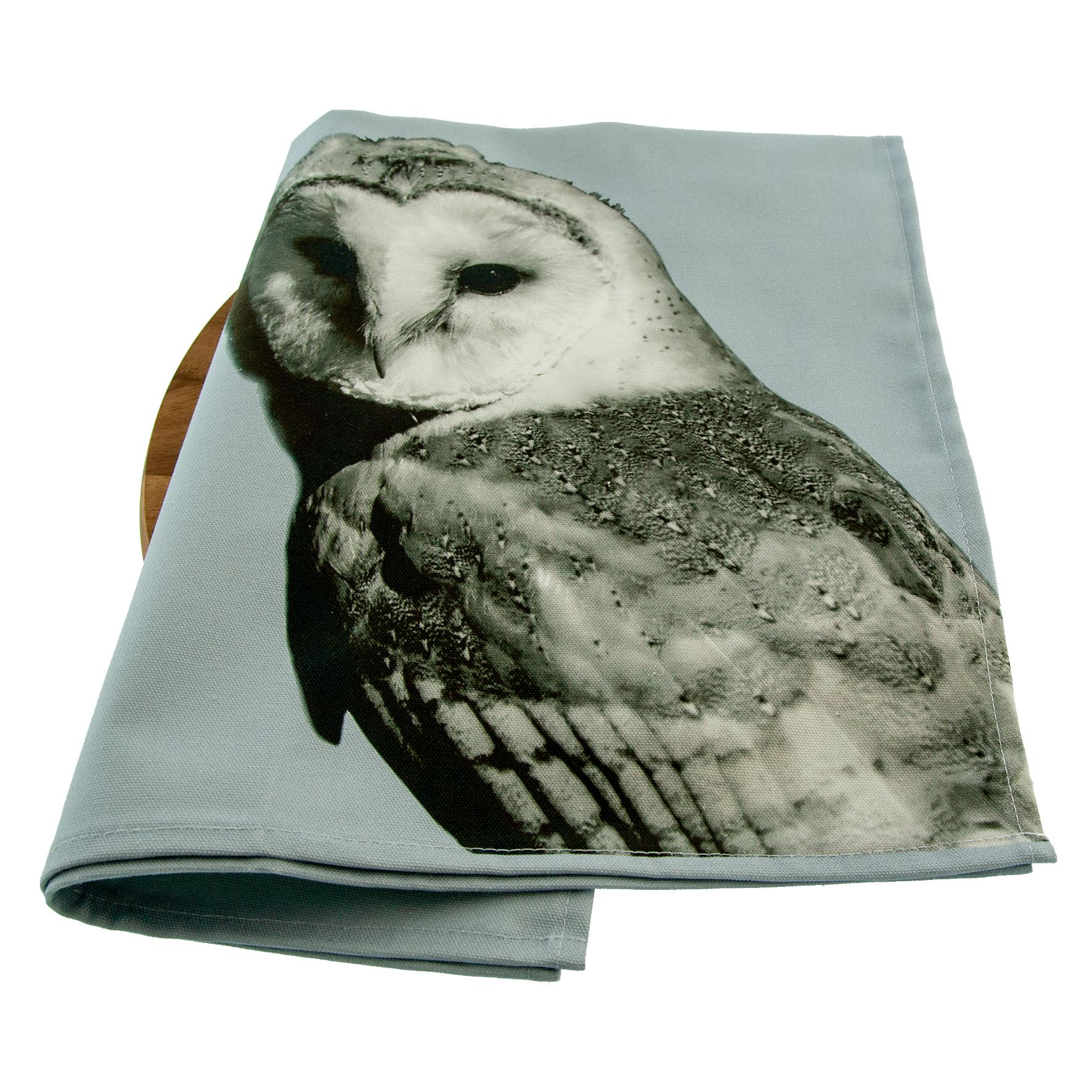 Barn owl Tea Towel on Pale Grey