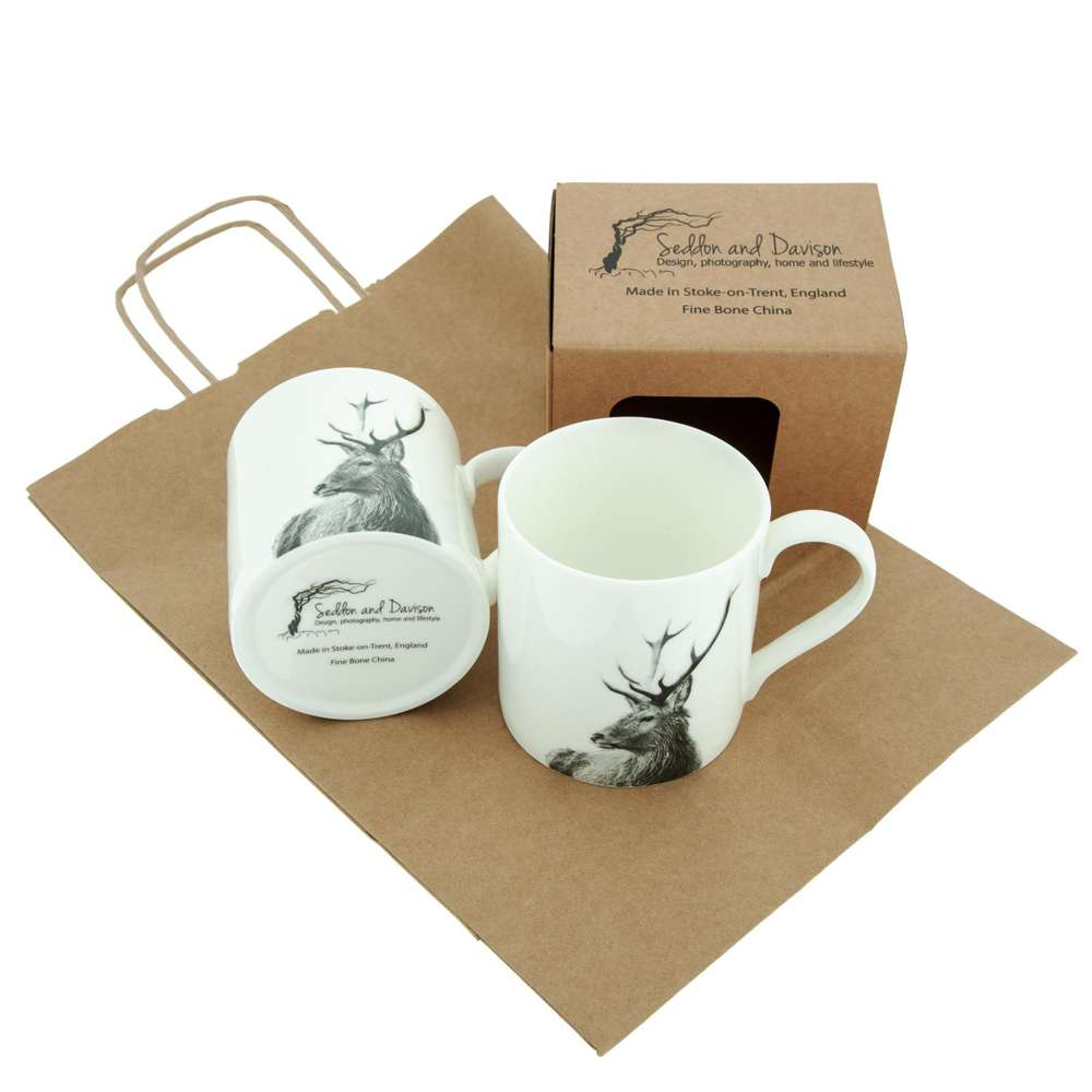 Highland Stag White Fine Bone China Mug
