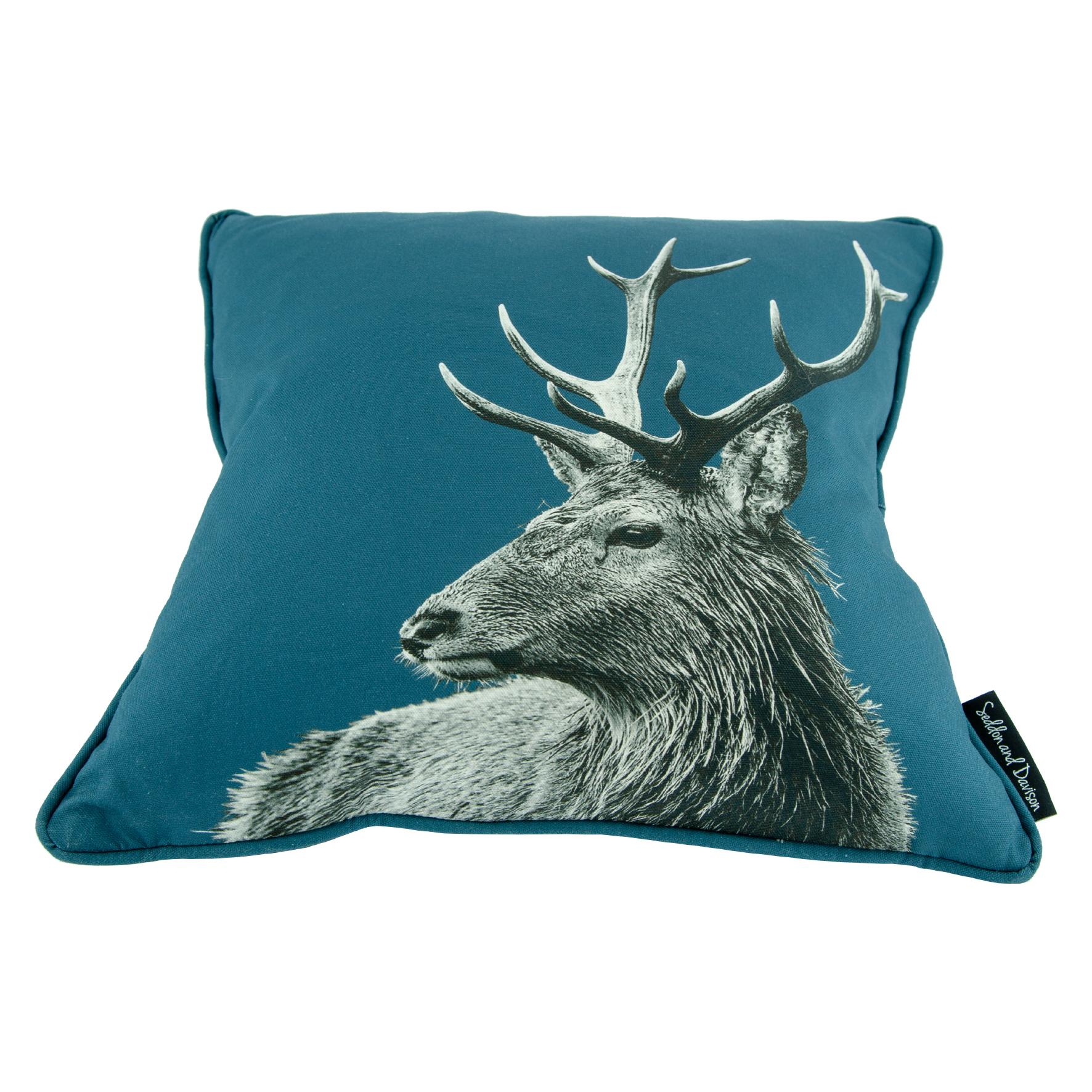 Highland Stag Cushion on Indigo