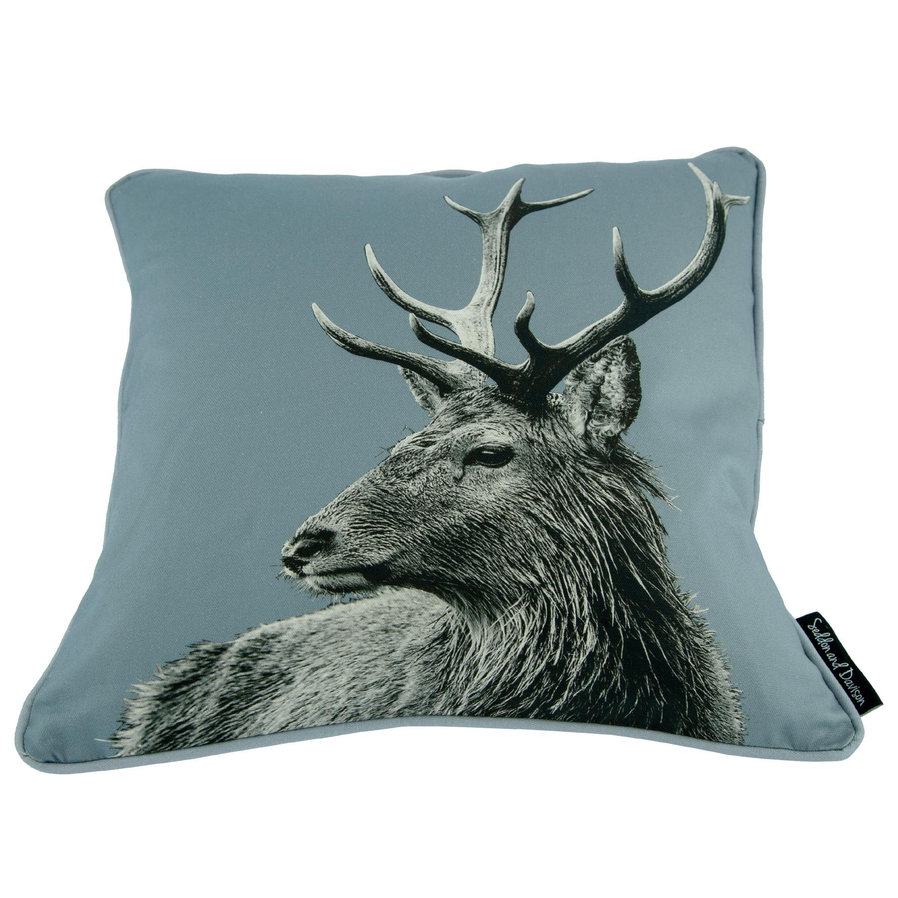 Highland Stag Cushion on Pale Grey