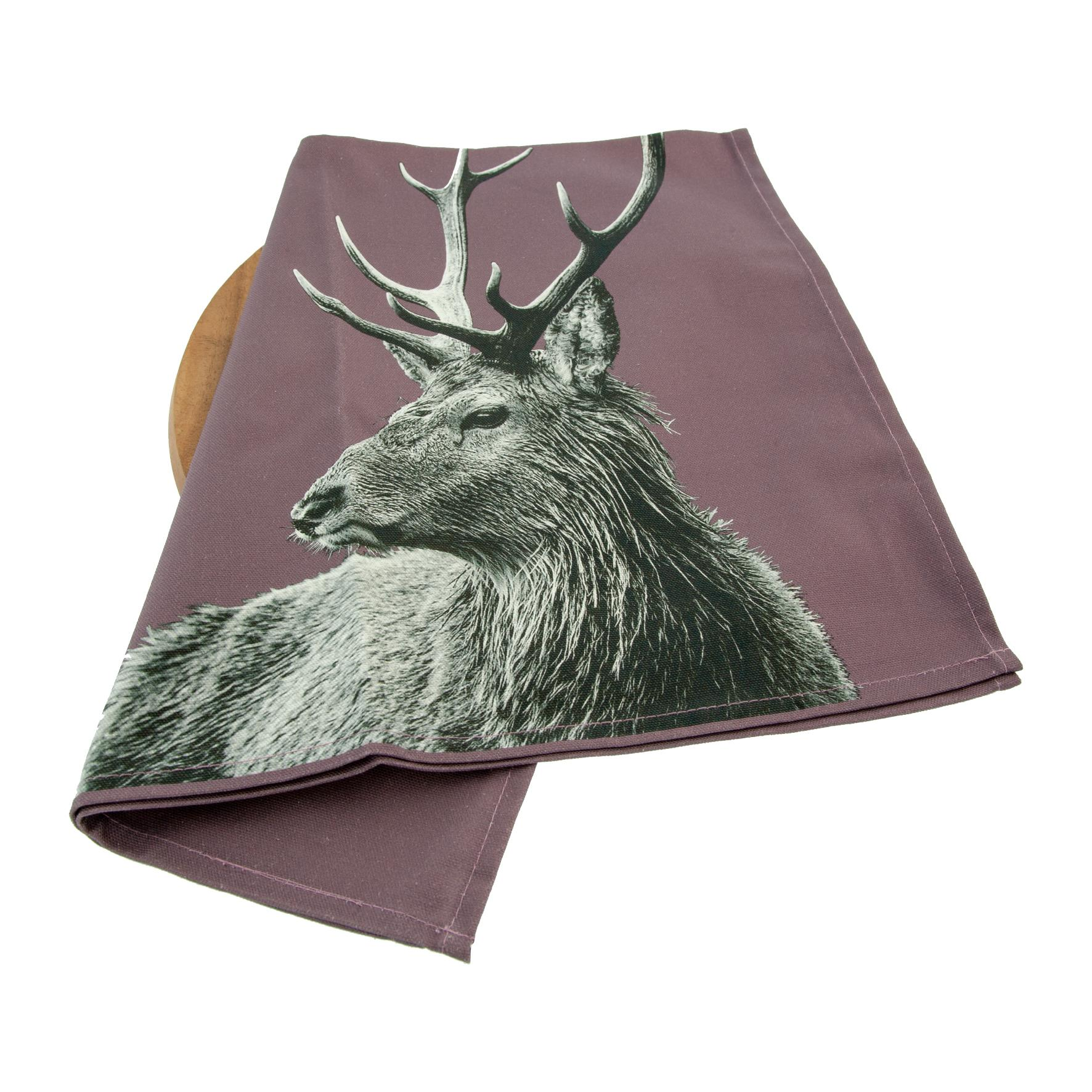 Highland stag tea towel on dusky pink