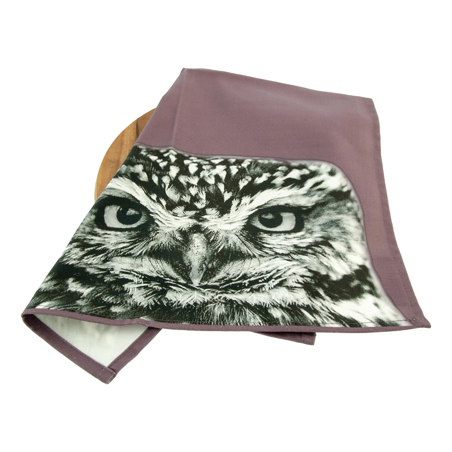 Little owl tea towel on dusky pink