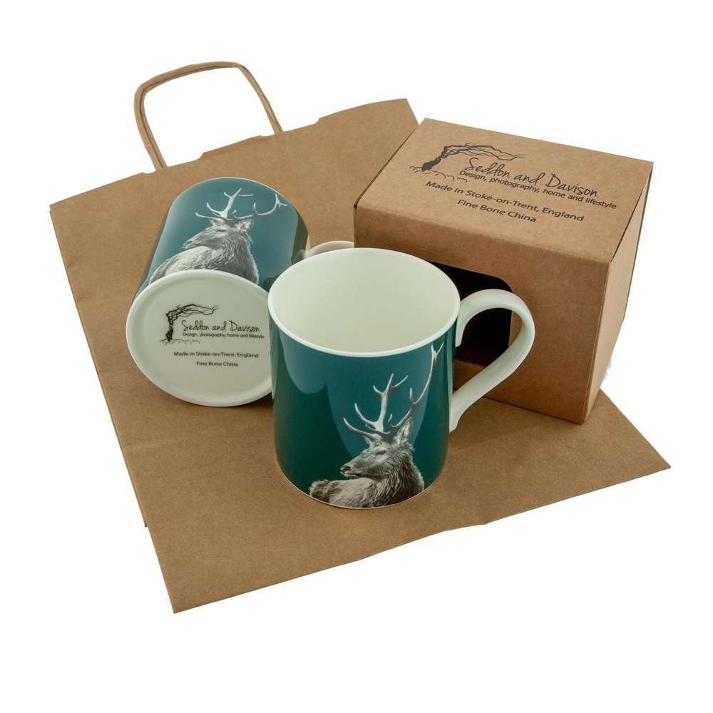 Highland Stag Fine Bone China Mug on Teal