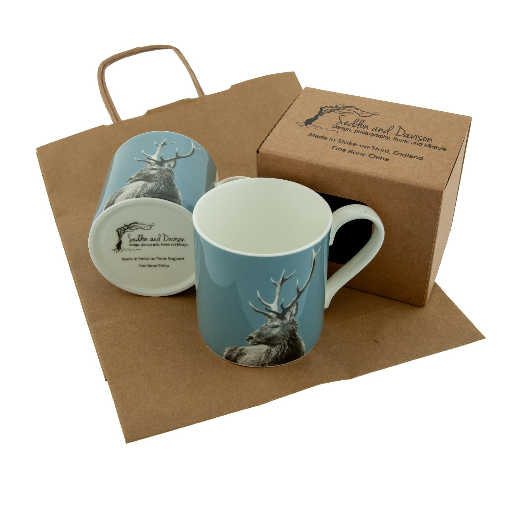 Highland Stag Fine Bone China Mug on Pale Blue