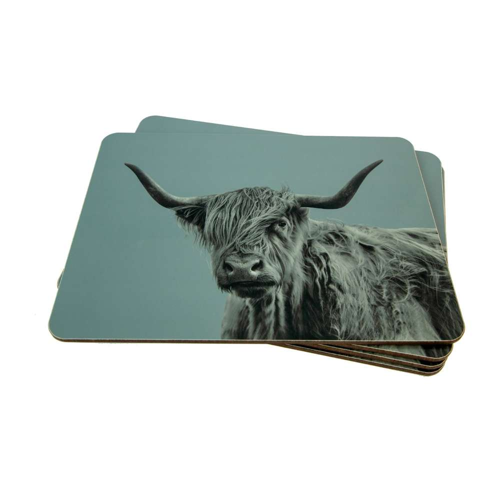 Highland Cow Placemat on Pale Blue