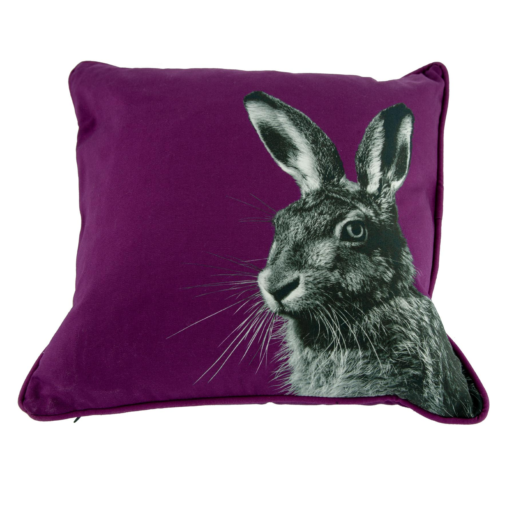 Hare on Claret Cushion