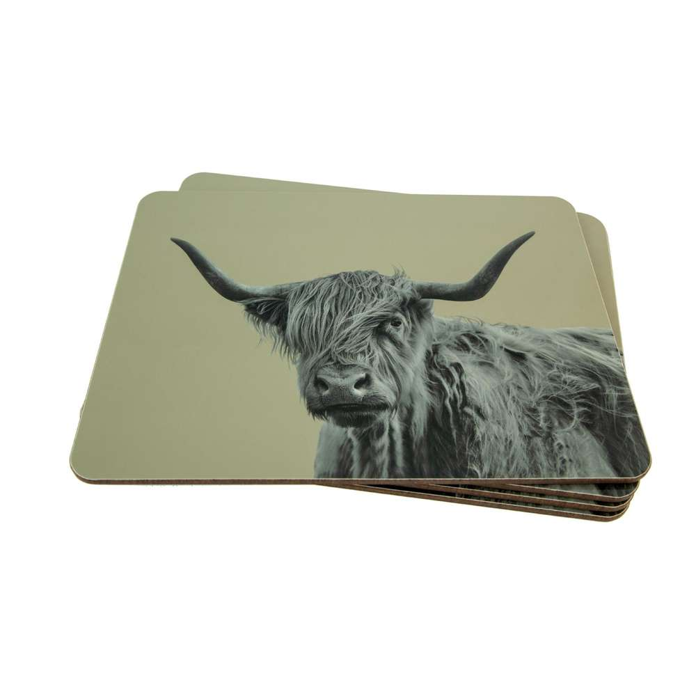 Highland Cow Placemat on San Grey