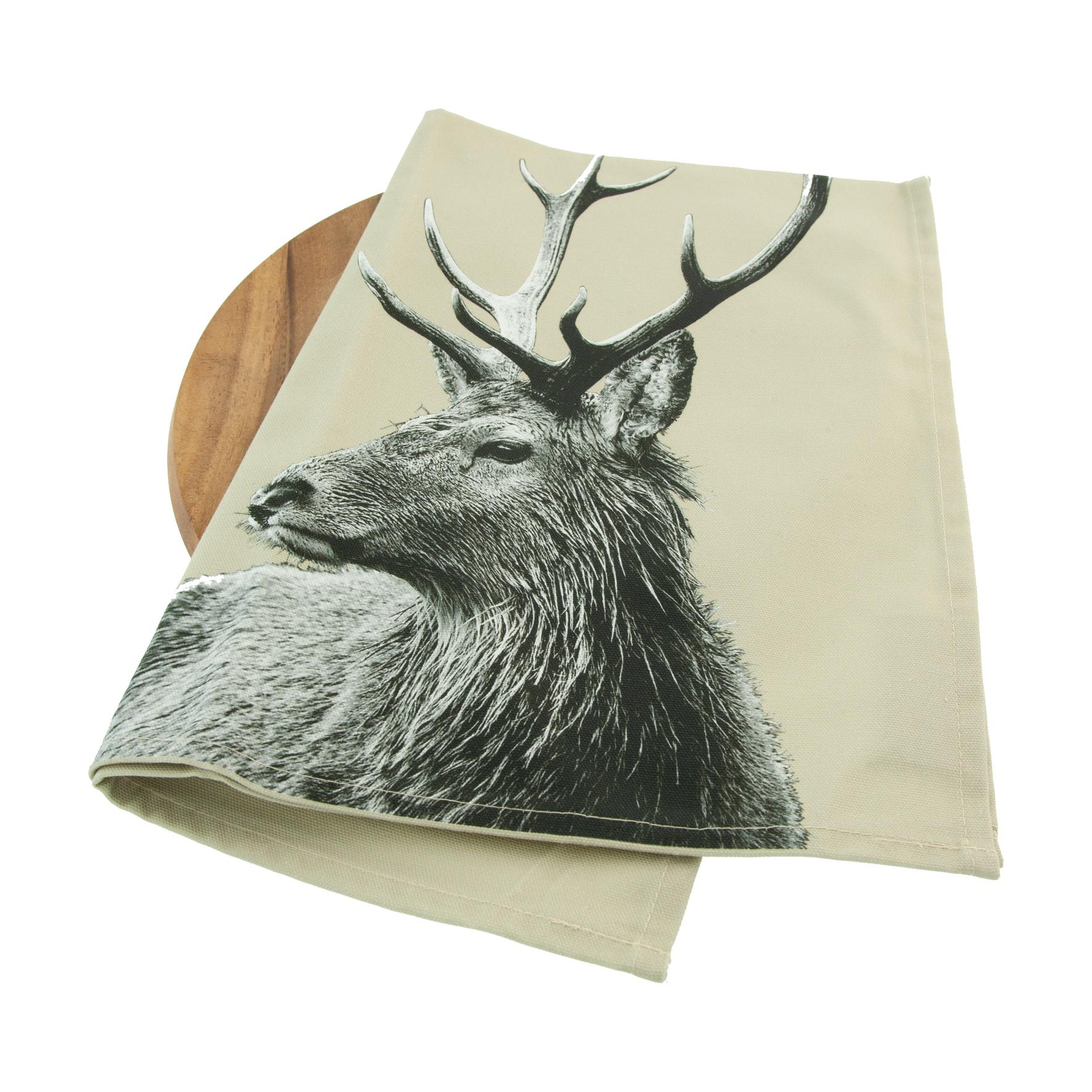 Highland Stag Tea Towel on Sand Grey