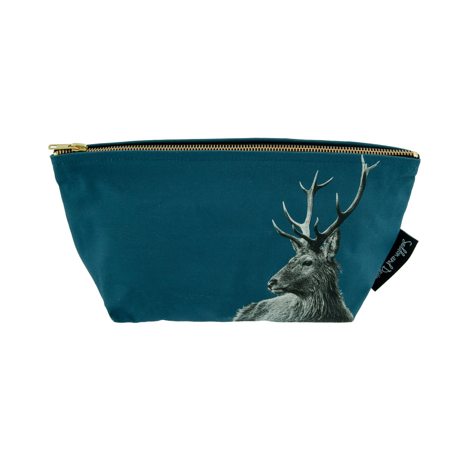 Highland stag wash bag on indigo