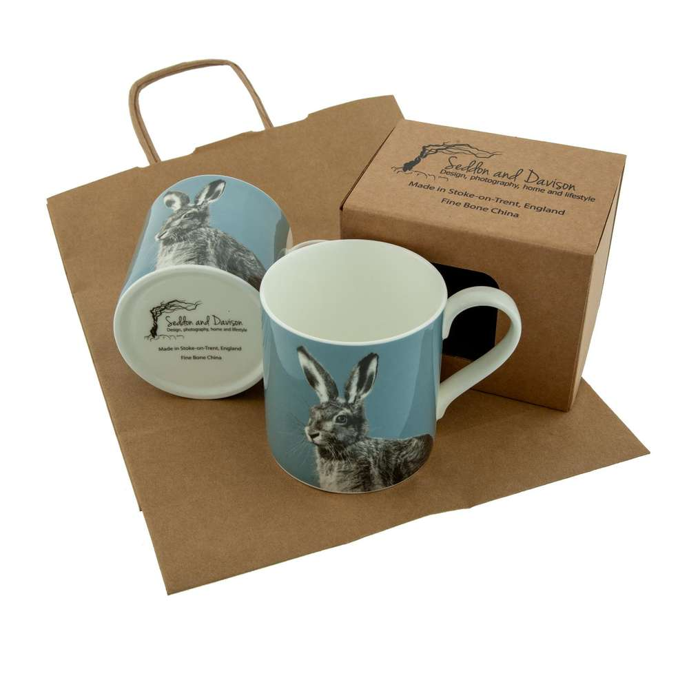 Hare Fine Bone China Mug on Pale Blue
