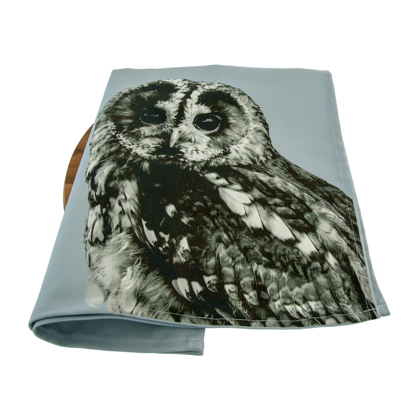 Tawny Owl Tea Towel on Pale Grey