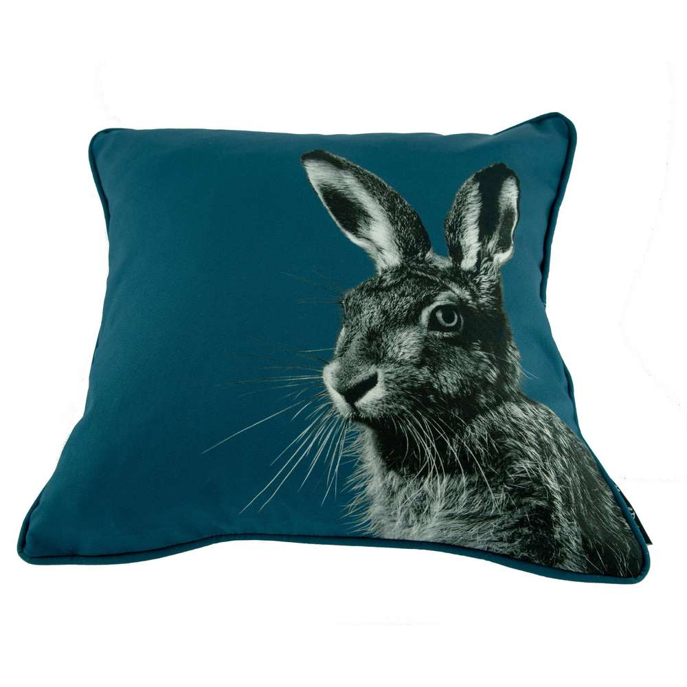 Hare cushion on indigo